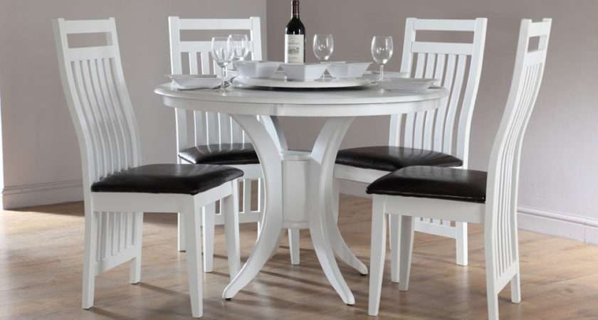 Somerset Java Round White Dining Room Table Leather Chairs Set