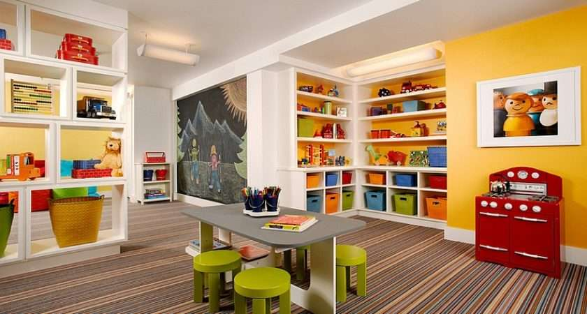 Space Transform Your Basement Into Fun Colorful Kids Playroom