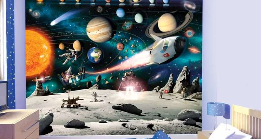 Space Wall Murals Grasscloth