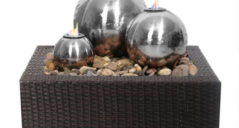 Spherical Sphere Water Feature Fountain Stainless Steel Flame