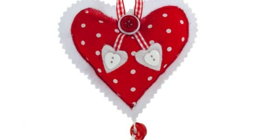 Spotted Red White Hanging Heart Decorations