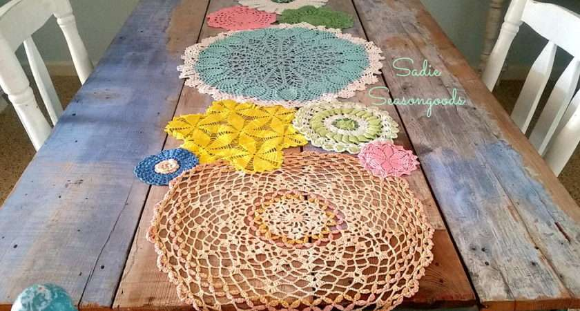 Spring Doily Table Runner Allfreesewing