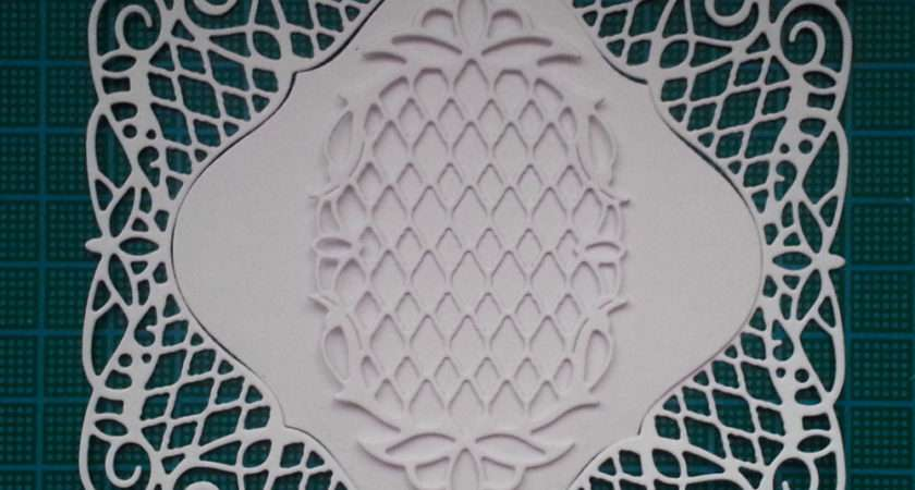 Square Frame Doily Paper Die Cut Card Topper Tattered