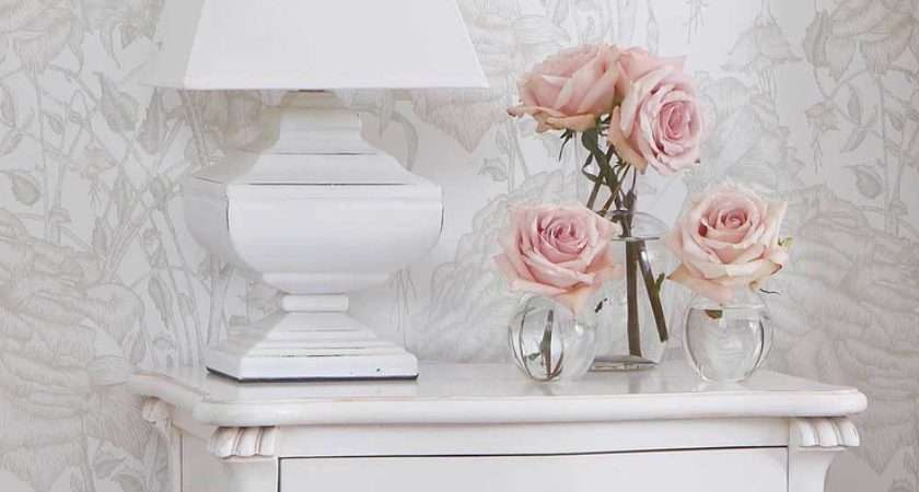 Squat Shabby Chic White Table Lamp Bedside Lamps
