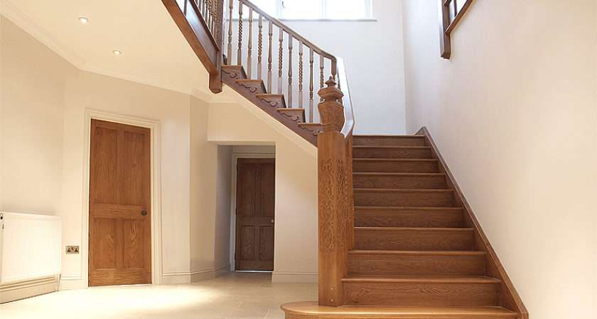 Staircase Has Large Bullnose Step Newel Post