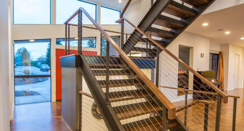 Staircase Modern Two Storey Home Narrow Roof Lines Elemental