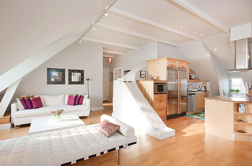 Stockholm Attic Stepped Walls Steep Ceilings