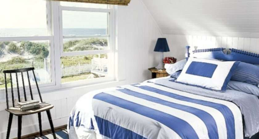 Stripe Bedding Gives Simple Coastal Bedroom Nautical Touch