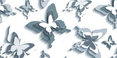 Stylish Seamless Pattern White Grey Butterflies