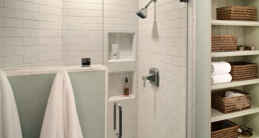 Subway Tile Shower Cottage Bathroom Rustic Rooster Interiors