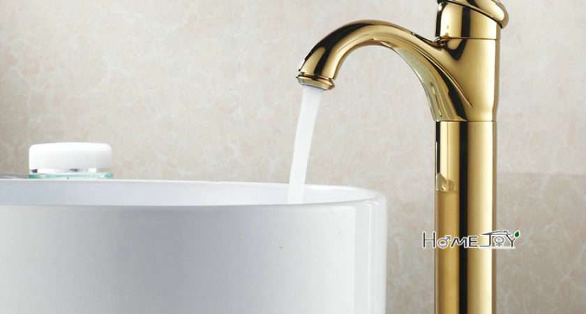 Tall Gold Polished Copper Counter Basin Taps Mixer Tap