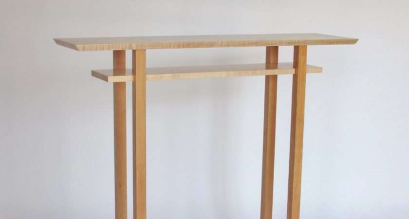 Tall Narrow Wood Foyer Table Hall Side