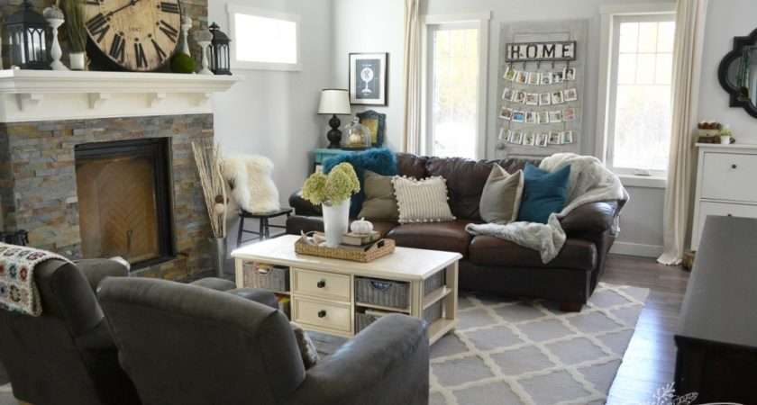 Teal Brown Living Room Cozy Fall