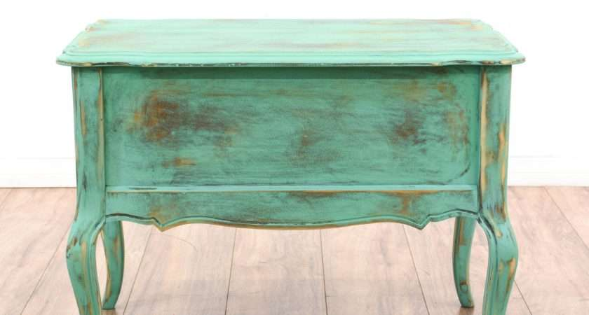 Teal Green Shabby Chic Drawer End Table Loveseat