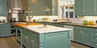 Teal Kitchen Cabinet White Wall Color Retro Colour