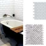 Then There White Marble Mosaics Brick Pattern