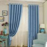 Thick Chenille Fabric Bedroom Curtains Blue Color