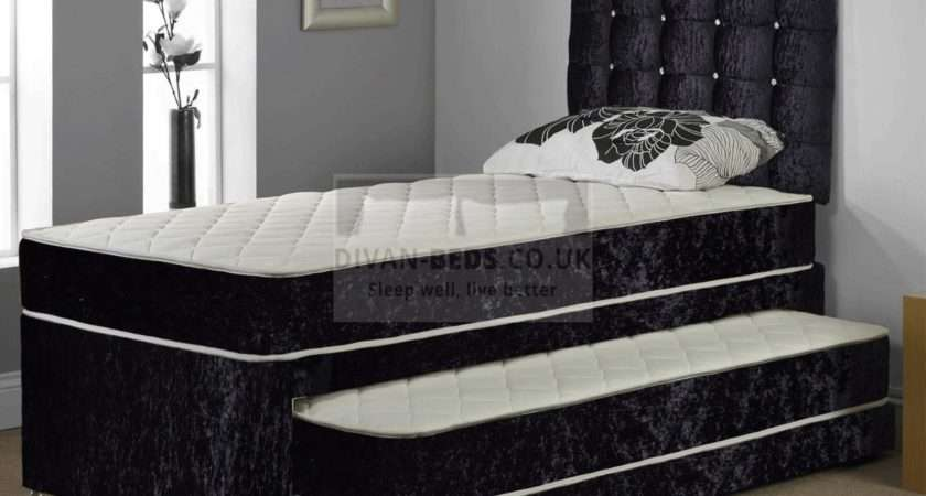 Thomas Crushed Velvet Trundle Divan Guest Bed