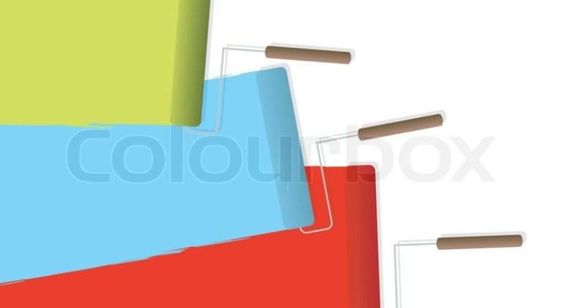 Three Rollers Filled Different Color Paints Vector Colourbox