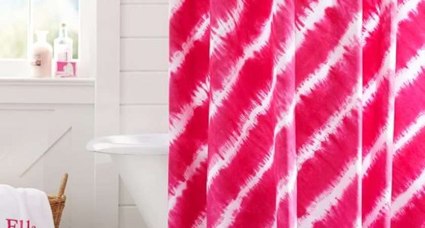 Tie Dye Shower Curtain Pink Magenta Pbteen
