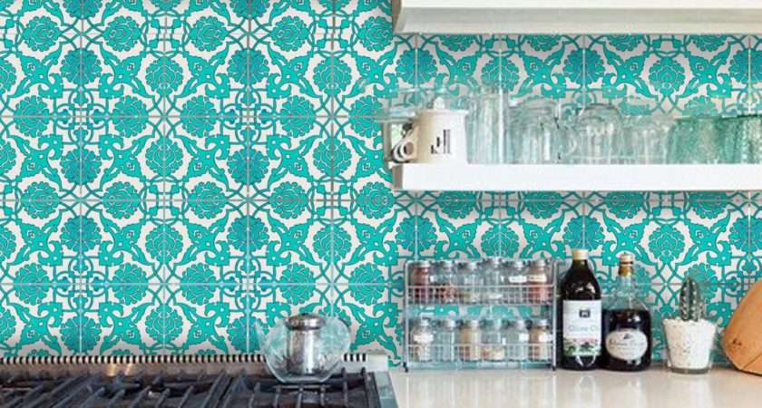 Tile Decal Indian Teal Hand Painted Decals Numbers