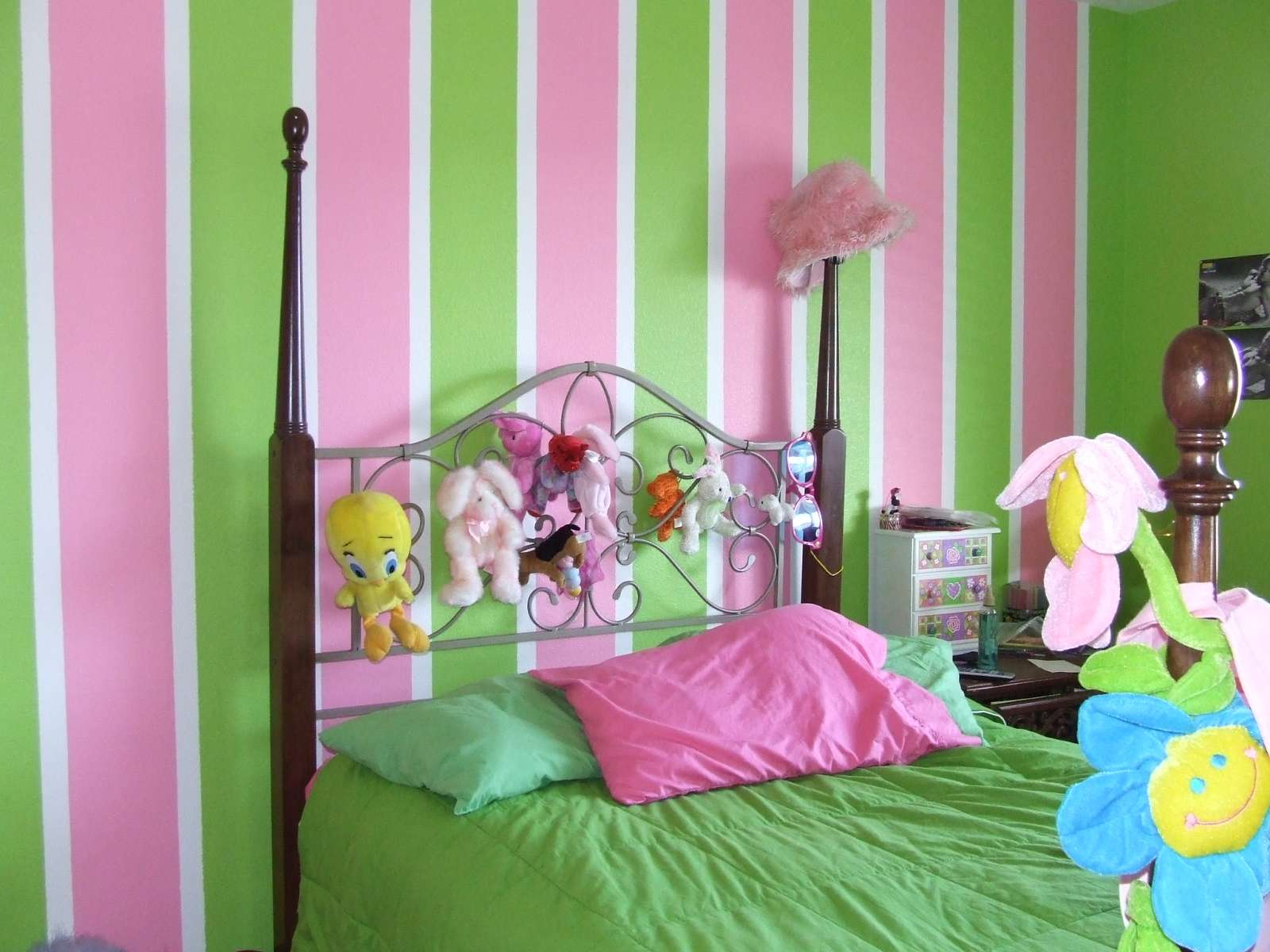 Took Young Ladies Favorite Colors Pink Green Painted