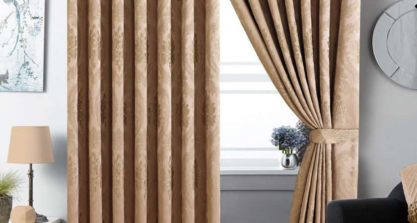 Top Curtain Jacquard Fully Lined Pair Eyelet Curtains Tie Backs