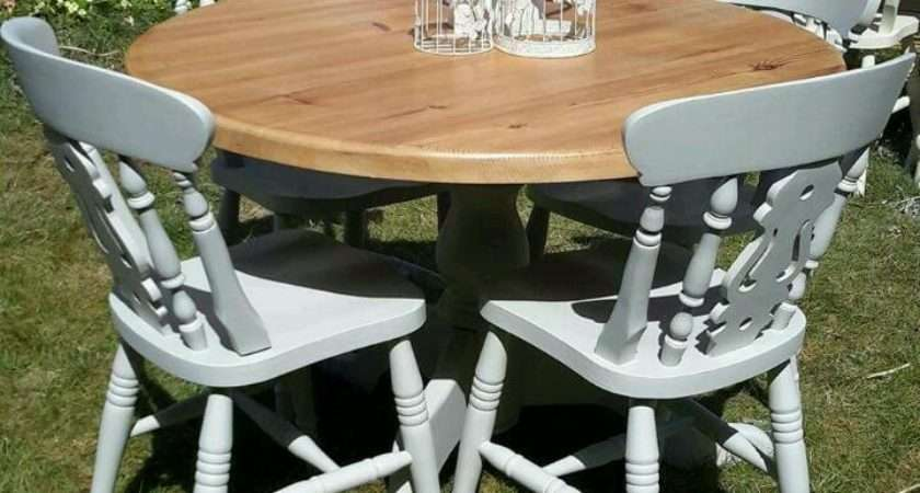 Top Shabby Chic Round Dining Table Chairs Home