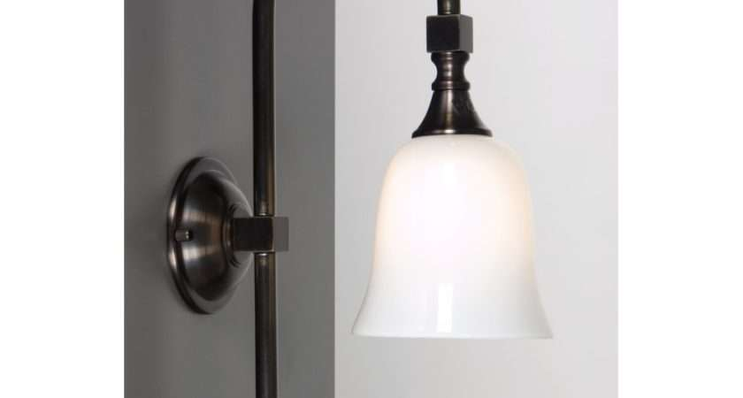 Traditional Bathroom Wall Light Aged Brass White