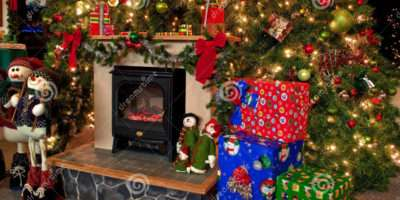Traditional Christmas Hearth Scene Huge Decorate
