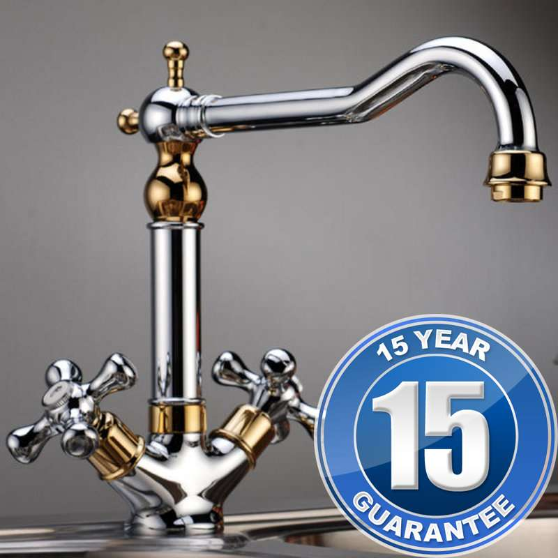 Traditional Gold Chrome Twin Handle Swivel Spout Kitchen