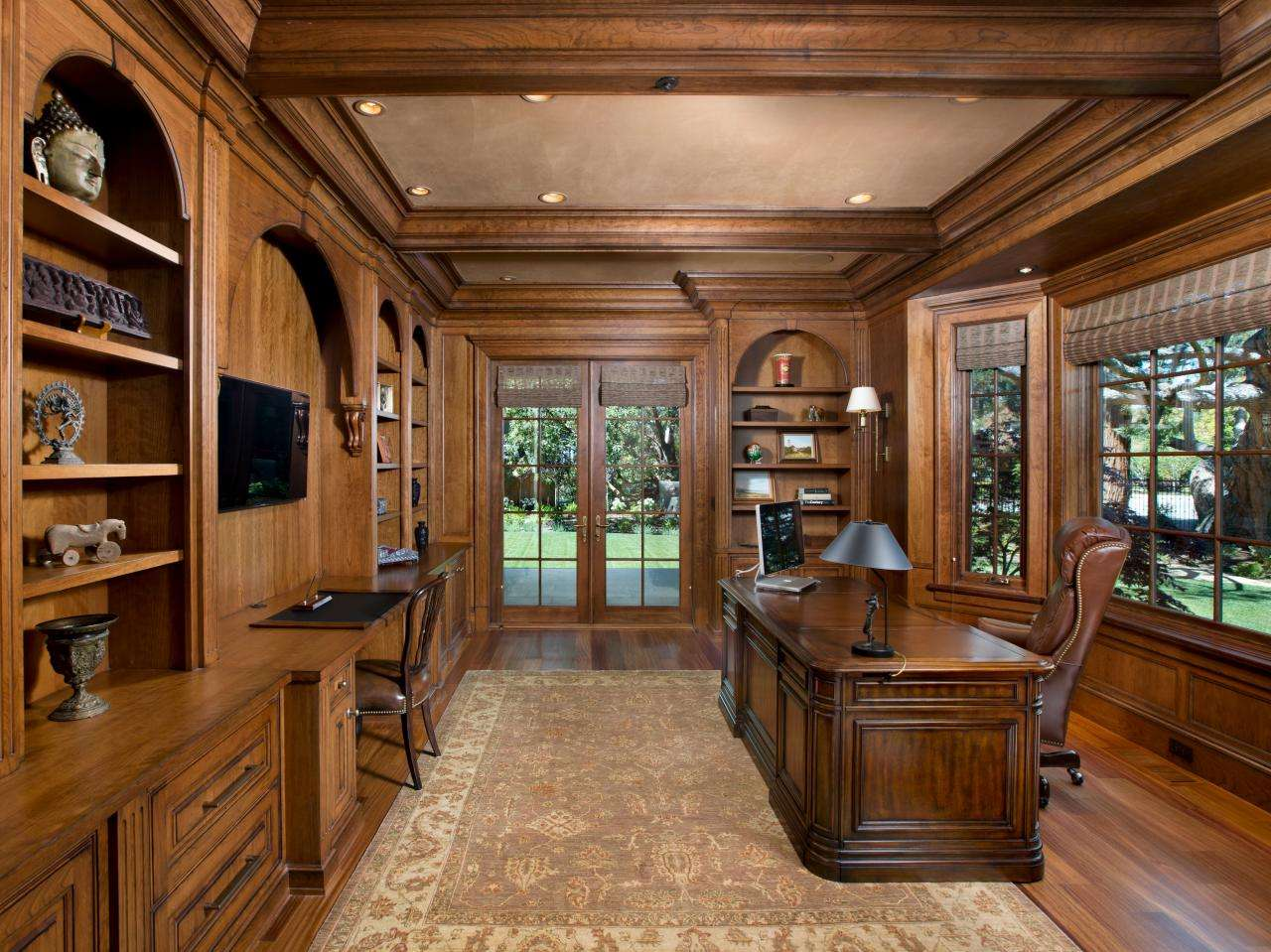 Traditional Wood Paneled Home Office
