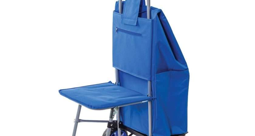Trolley Dolly Fold Out Seat Rolling Carry Bag Ebay