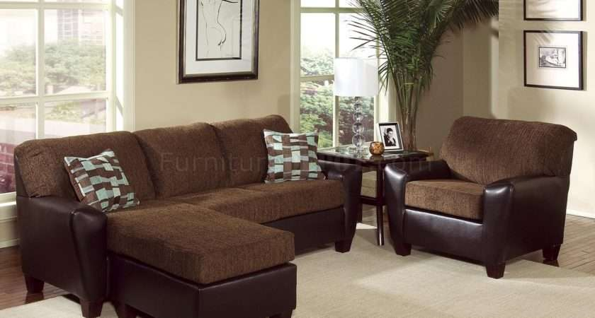 Two Tone Brown Contemporary Living Room Cushioned Seats Hls