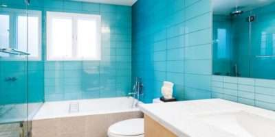 Type Small Blue Tiles Bathroom Decoration