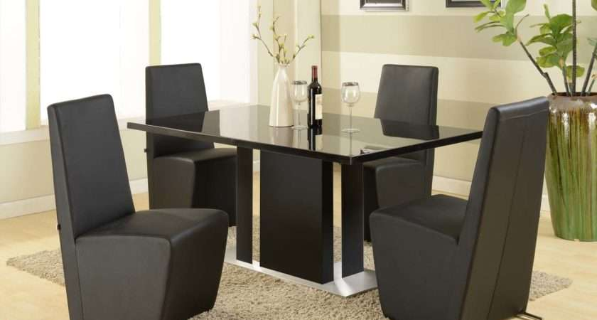 Ultra Modern Black Marble Dining Table Chair Set