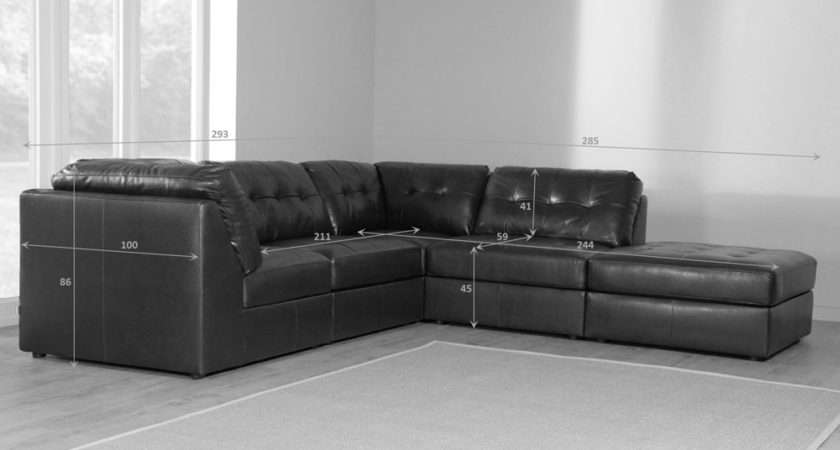 Union Brown Leather Modular Corner Sofa Group Settee Ebay