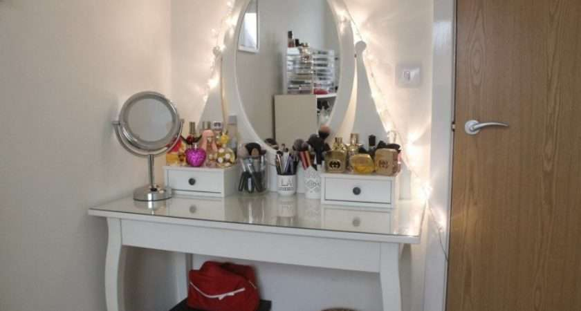 Vanity Dressing Table Oval Mirror Lights Also Glass