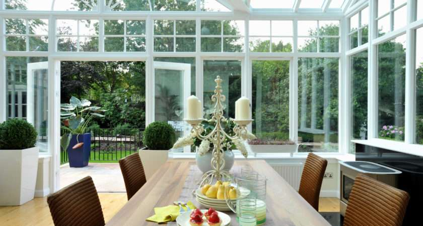 Very Airy Green House Tall Glass Wide Door Bushy Plant