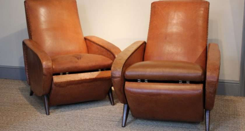 Very Comfortable Pair French Reclining Leather Armchairs