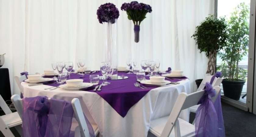 Vibrant Purple White Table Setting