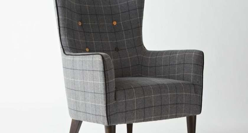 Victor Chair Buttoned Window Pane Plaid Contemporary