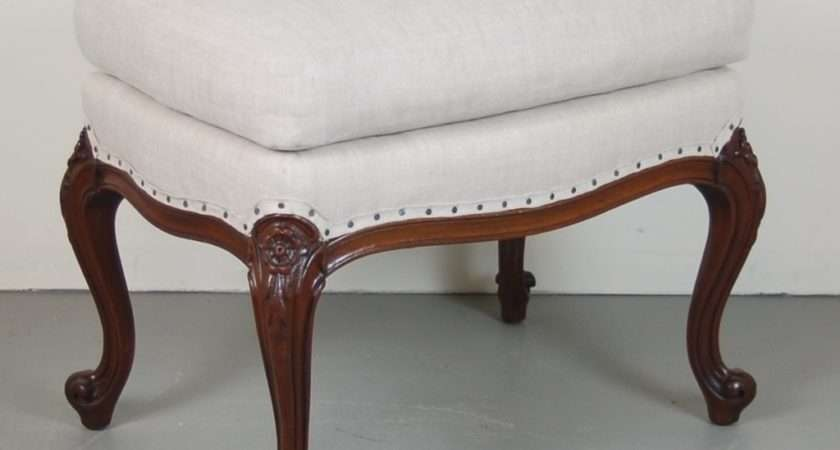 Vintage Carved French Style Bench Stool Ottoman