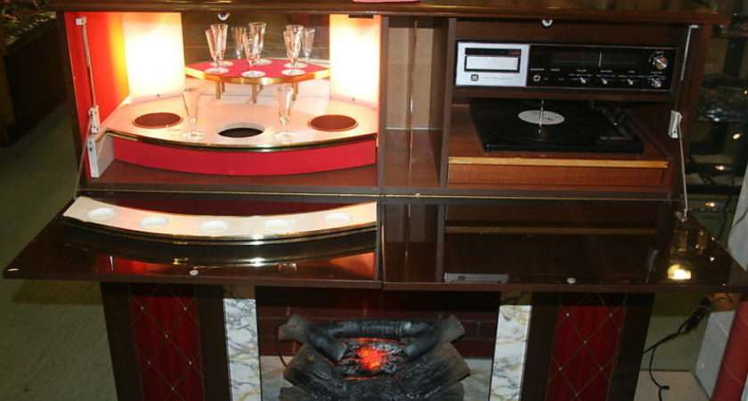 Vintage Fireplace Bar Stereo Furniture Combo