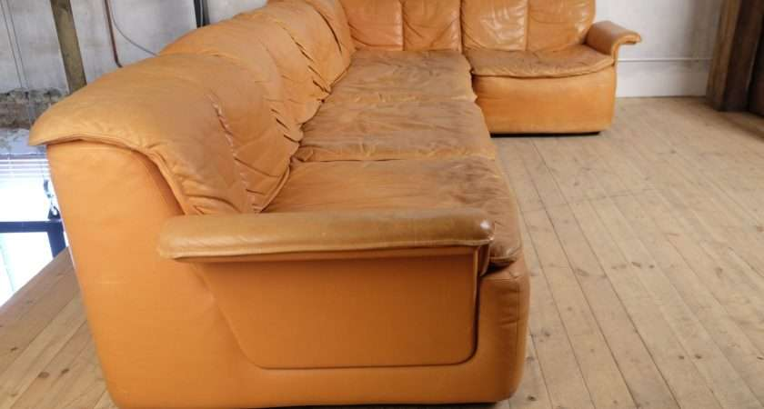 Vintage Modular Corner Sofa Leather Sale Pamono