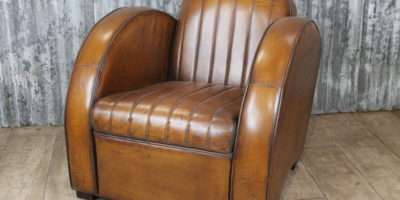 Vintage Retro Art Deco Style Leather Armchair Library