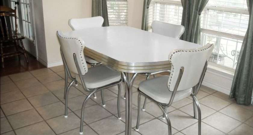 Vintage Retro White Kitchen Dining Room Table Chairs