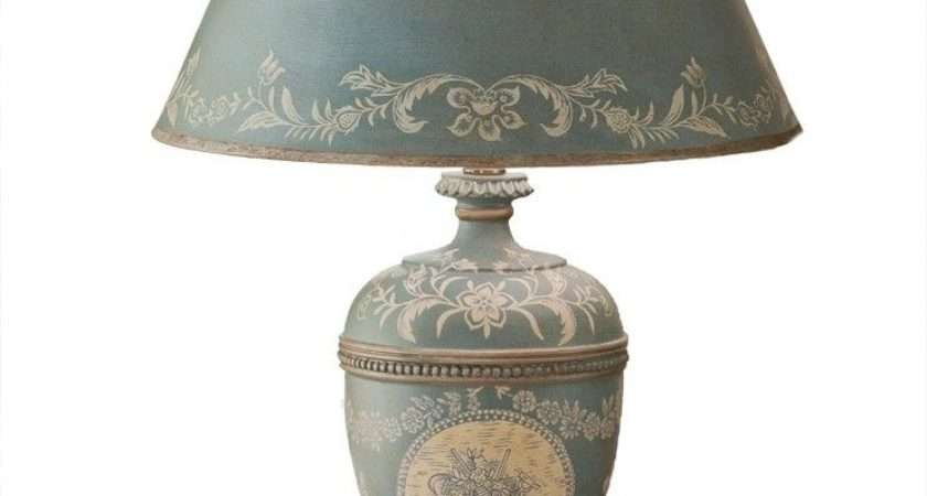 Vintage Style Blue Toile Table Lamp French Country Shabby