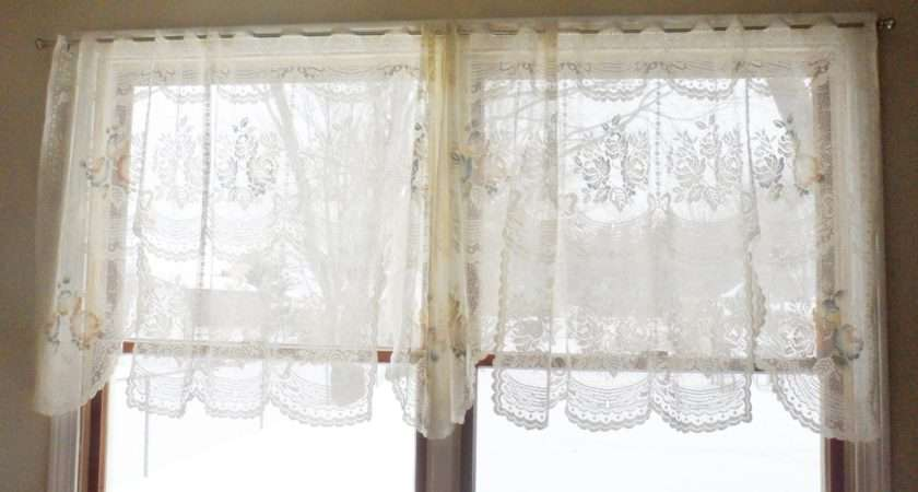 Vintage Victorian Rose Shabby Cottage Chic Ivory Lace Curtain Valances