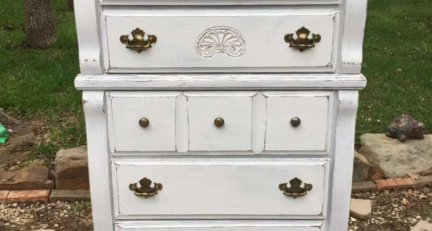 Vintage White Shabby Chic Dresser Chest Drawers